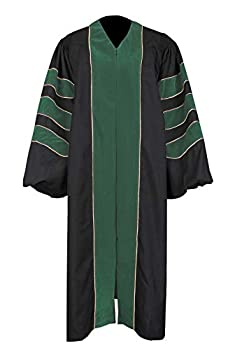 Newrara Unisex Deluxe Doctoral Graduation Gown,Doctoral Regalia Gown with Gold Piping  Green 54