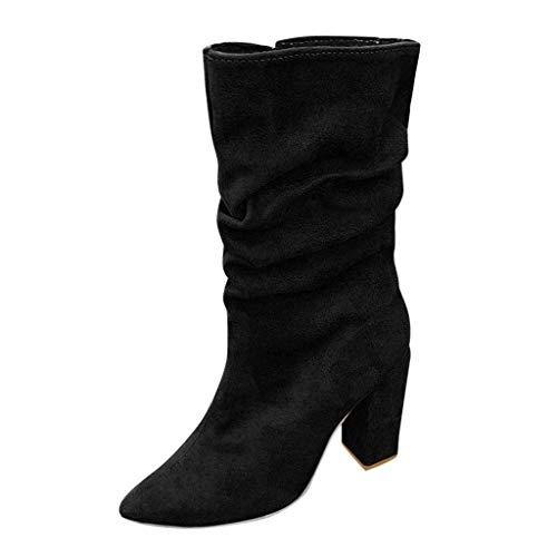 Maleya Kurze Stiefeletten Damen Ankle Boots Retro Rom Stiefel Quadratische High Heel Winterstiefel...