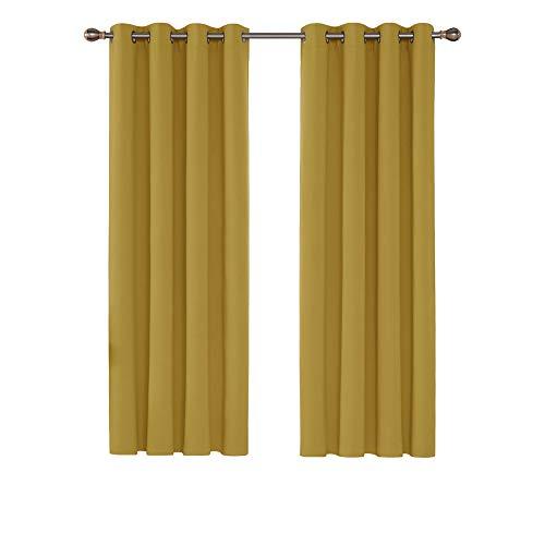 Deconovo Verdunkelungsvorhang Ösen Blickdicht Gardinen Schlafzimmer 160x132 cm Gelb 2er Set
