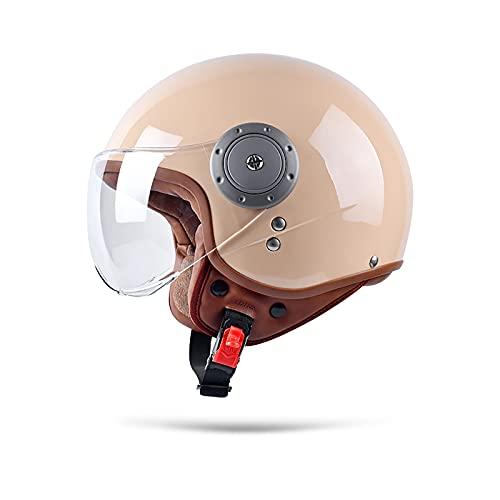 Boseman Cascos De Motocicleta para Hombres y Mujeres, Cascos De Ciclomotor con Viseras.El Cabezal Anticolisión Protege La Seguridad Vial De Los Usuarios(Marrón Claro)