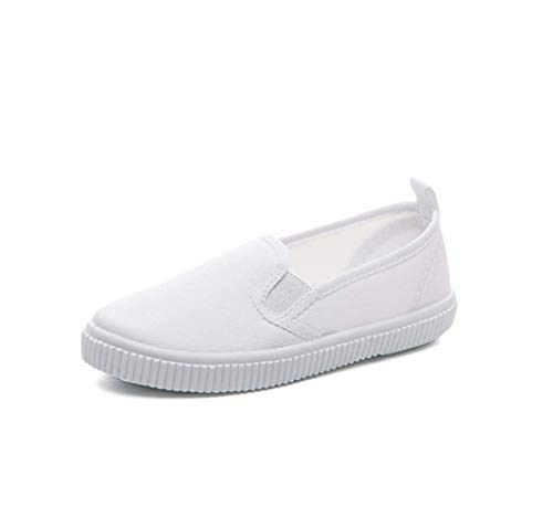 Amazon Essentials Kids' Slip On Canvas Sneaker, White, 3 Youth US Little