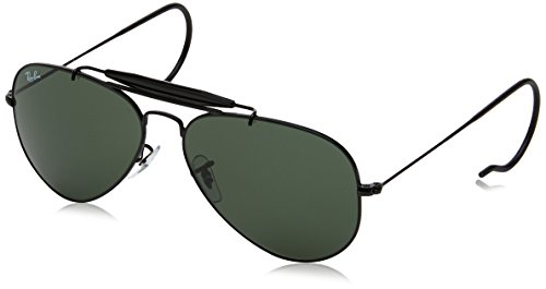 Ray-Ban Naturbursche Aviator Sonnenbrille in schwarz RB3030 L9500 58 58 Crystal Green