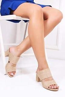 TARÇIN Hasır Deri Günlük Kadın Topuklu Terlik TRC130-7061