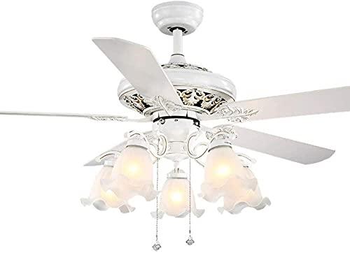 Lámpara de techo con 5 cuchillas reversibles de madera, control remoto, silencioso, lámpara de techo para iluminación decorativa de invierno y verano, color blanco