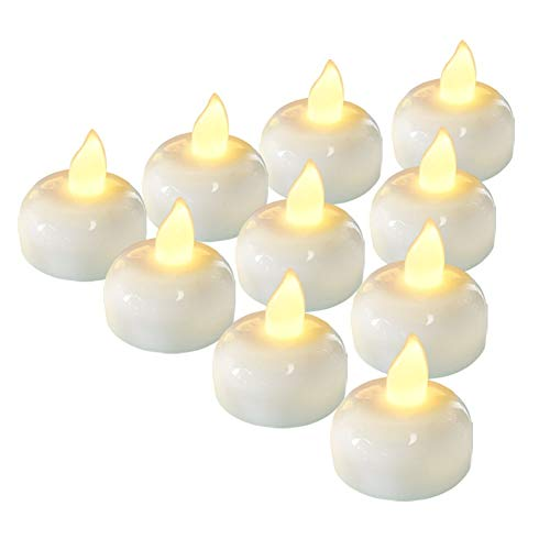 AMAGIC 24 PCS Flameless Floating Candles, Battery Operated Waterproof Tea Lights for Wedding, SPA, Party Decoration, Warm White