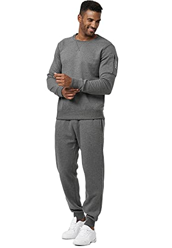 EGOMAXX Herren Sweat Jogginganzug Basic Army SportanzugSet Pants Hosen & Sweater Camo Trainingsanzug ohne Kapuze, Farben:Grau, Größe Hosen:XXL