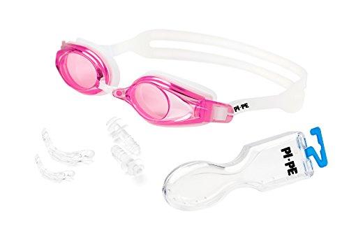 PI-PE Antifog Schwimmbrille für Kinder, Jugendliche und Erwachsene mit UV-Schutz, Ohrstöpseln und Wechsel-Nasenstegen - Unisex Antibeschlag Taucherbrille, schwarz zum Schwimmen