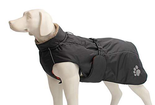 Morezi Abrigo de invierno para perro impermeable, abrigo de invierno con forro polar acolchado, ropa para perro al aire libre con bandas ajustables y cordón en invierno - negro - S
