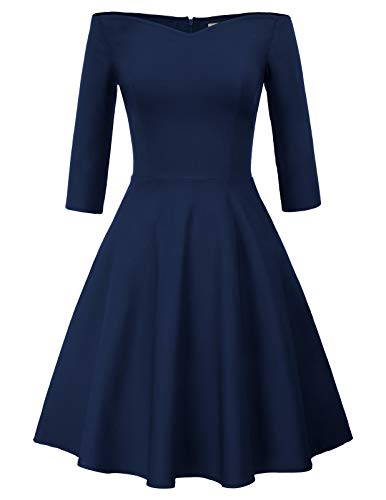 Marineblau Rockabilly Kleid Swing Kleid mit ärmeln Rockabilly Damen Vintage Retro Kleid CL823-3 XL