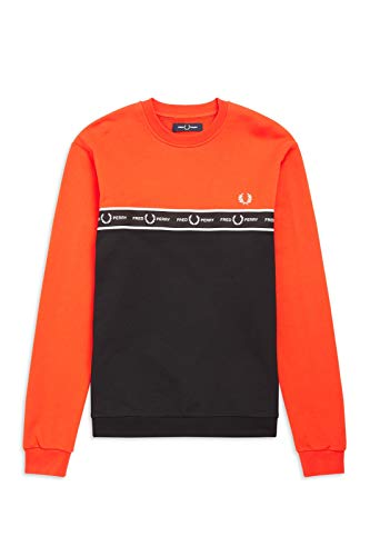 Fred Perry Taped Chest Sweatshirt International Orange M7524 I66 Gr. L, Orange