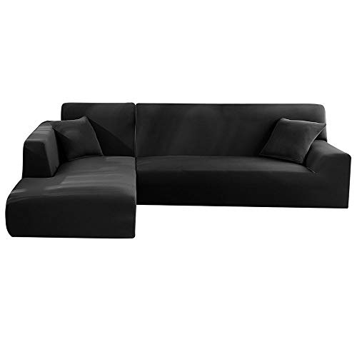 Enjoygoeu Copridivano con Penisola Elasticizzato a Forma di L Chaise Longue Sofa Cover Angolare Componibile Divano in Poliestere è Composto da 2 Pezzi,e con 2 Federe (Nero, 2 posti + 2 posti)