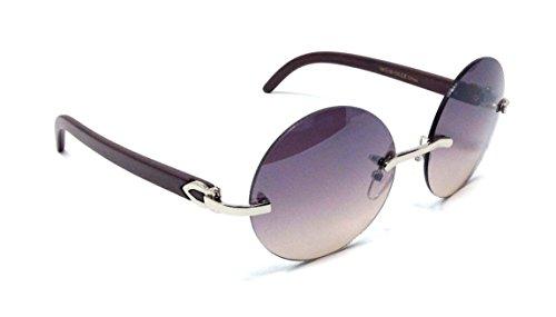 Diplomat Rimless Round Metal & Wood Grain Frame Sunglasses (Silver & Dark Brown Wood Frame, Brown Gradient)