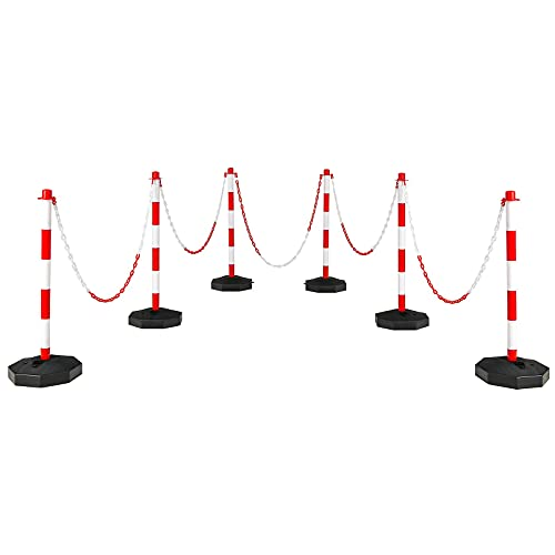 Goplus 6 Pack Delineator Post Cone, Traffic Cones Safety Barrier with Octagonal Fillable Base & 5FT Link Chains, Plastic Street Stanchions Construction Cone Parking Post (6PCS, White+Red)