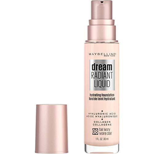 Maybelline Dream Radiant Liquid Medium Coverage Hydrating Makeup, Lightweight Liquid Foundation, Fair Ivory, 1 Fl; Oz