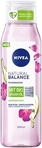 Nivea Duschgel Natural Balance mit Wildrosen-Duft und Bio Argan-Öl (300 ml), Pflegedusche ohne allergene Duftstoffe, vegane Dusche für trockene und sensible Haut