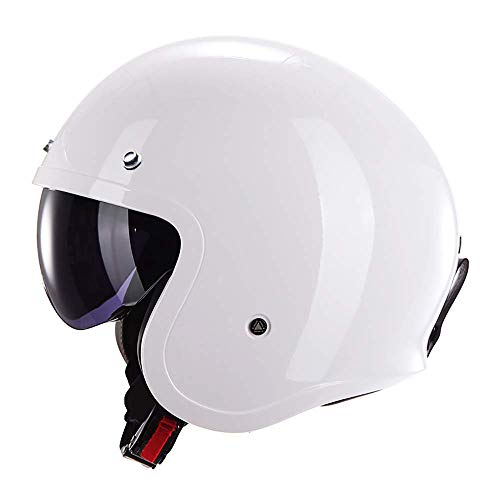 KAISIMYS Casco de Motocicleta para Mujer, Unisex-Adulto Aprobado por Dot, Ligero, Retro, Medio Casco, Motocicleta, Casco de Bicicleta de Calle, Casco de Motocicleta, Blanco, Blanco, XXXL