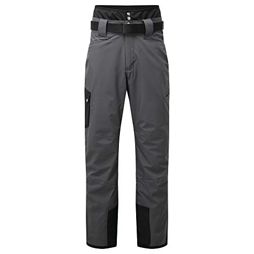 Dare 2B Absolute II Pantalon de Ski imperméable, isolant respirant avec coutures cousues-collées, poches Multiples et guêtres intégrées, Salopette Uomo, Ebano/Nero, XS