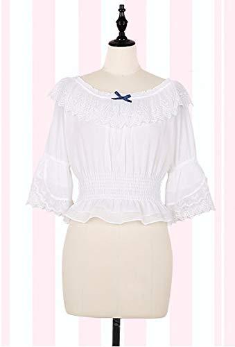 LJYNB Shinning Stars Lolita Dress Gradient Star Blue Girls Vestido de lujo slido Vestido plisado con pliegues de encaje con camisa Conjunto S camisa blanca