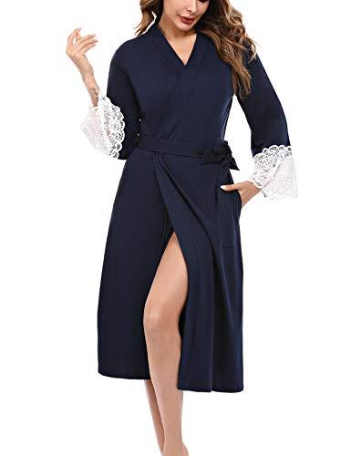 iClosam Bata Mujer Algodón Largo Albornoz Encaje Costuras Manga 3/4 Cinturón Ropa de Dormir Suave y Cómodo S-XXL