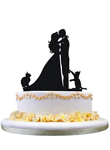 YAMI COCU Wedding Cake Toppers Cats Black Acrylic Cake Topper of Engagement and Wedding with Bride and Groom