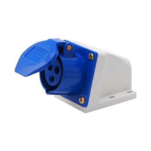 QERMULA Zócalo Industrial 16 amperios, 3 Pines, 220-250 V, Resistente a la Intemperie, IP44, 2P + T, trifásico, 16 A, Enchufe de Montaje en Superficie de 16 amperios, Azul