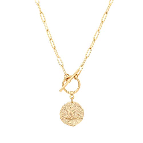 Moon and Star Medallion Pendant Necklace 18k Gold Oval Link Chain Choker Large Celestial Charm Layering Jewelry 20