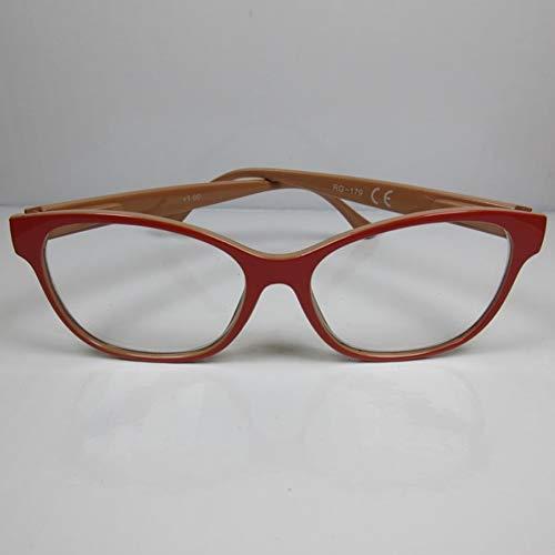 Kost Moderne Lesebrille +3,0 große Sichtfläche rot/beige für SIE & IHN Flexbügel Etui
