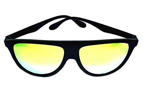 Gafas de sol para hombre - gota - lentes con espejo dorado modelo pop rapero - montura de pvc negro - polarizado uv 400 - idea de regalo de cumpleaños