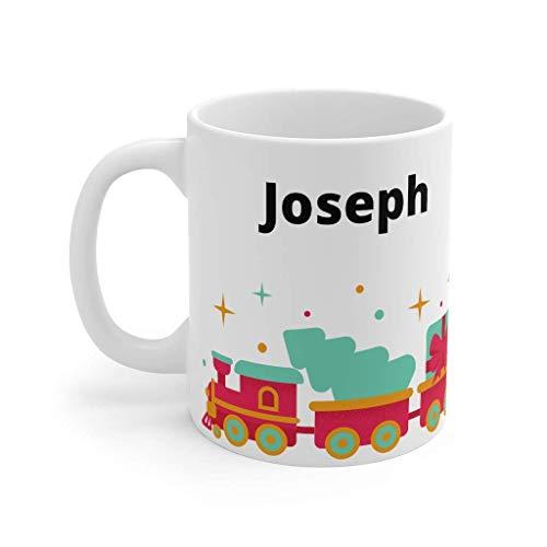 N\A Taza Personalizada de Tren, Taza de vajilla con Motor Rojo, Taza de Tren Little Choo Choo, Taza de Navidad Tren de Navidad, Taza