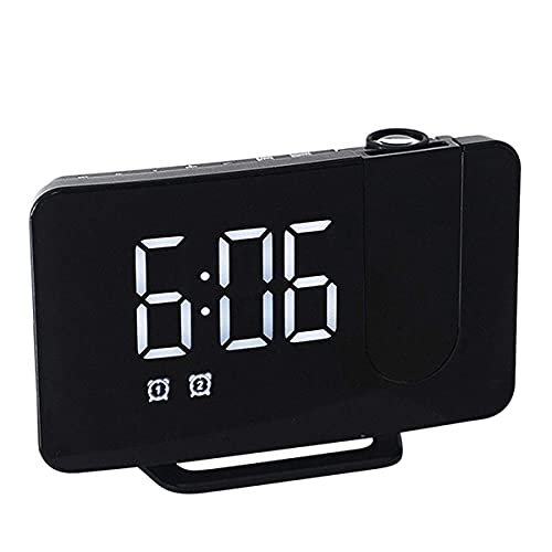 Kaidanwang Cabecera Cuarto Silencio Despertadores Reloj de Alarma Digital para dormitorios, proyector de 180 ° con Radio, Reloj de Alarma Digital, alarmas duales con Cargadores USB Regalo