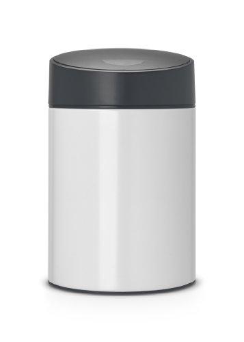 Brabantia Slide Bin - Cubo de Basura, 5 litros, Tapa Deslizante, Cubo Interior de plástico extraíble, Color Blanco Puro con Tapa Negra de plástico
