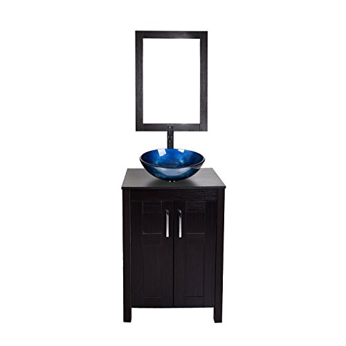 24 Inches Traditional Bathroom Vanity Set in Dark Coffee Finish, Single Bathroom Vanity with Top and 2-Door Cabinet, Tempered Glass Round Sink Top with Single Faucet Hole