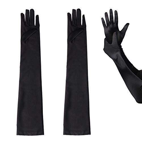 nuoshen Lang Schwarz Handschuhe, Satin Schwarz Long Handschuhe Abendhandschuhe Opernhandschuhe Ellenbogenhandschuhe für Partzý, Hockzeit und Opern(52cm lang)