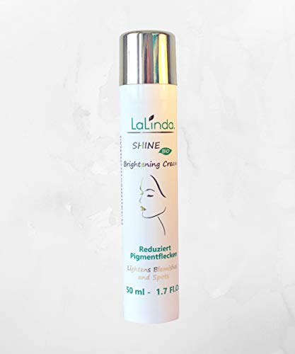 LaLinda - BIO Brightening Cream - against pigmentation spots, age spots and wrinkles - anti-aging with blue-green algae extract, hyaluron, ectoin, rose water for a brighter complexion. Vegan. - 50 ml