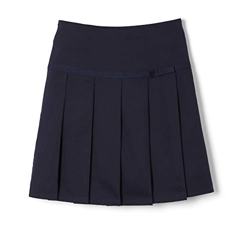 French Toast  Girls' Pleated Scooter with Gross Grain Ribbon, Navy, 8,Big Girls