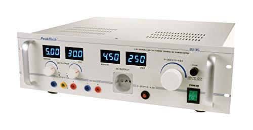 PeakTech P 2235 - Transformador de corte (0-250 V CA, 4,5 A, 0-30 V, 0-5 A)