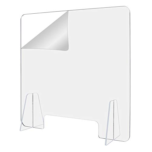 Protective Sneeze Guard, Clear Acrylic Plexiglass Freestanding Shield for Food Screen, for Sales Counter/Reception Protection Barrier for Workers Against Cough & Sneezing (24'w x 24'h)