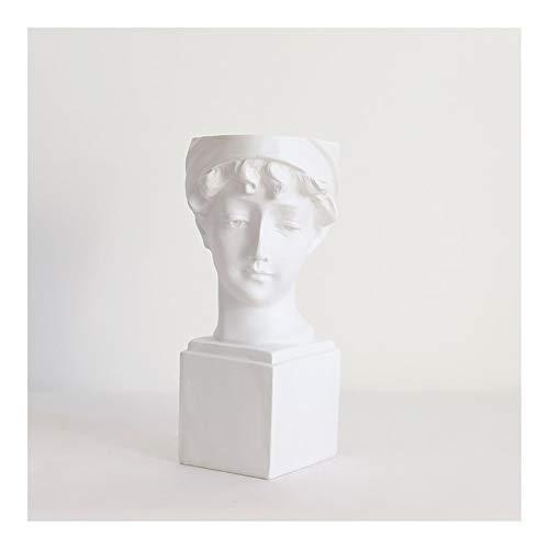 VIVIANE Statuen, Modern Nordic-Art Kreative Portrait Vase, Harz David Medici Venus Vase Home Decoration, Menschlicher Kopf Dekorative Ornamente, Verzierungen Skulpturen, 12cm * 28cm (Size : S)