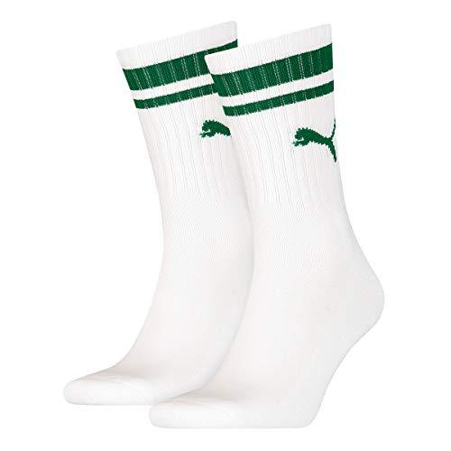 PUMA Unisex Calcetines deportivos, 2 Pares - Calcetines Tenis, Crew Socks, Rayas, lisos