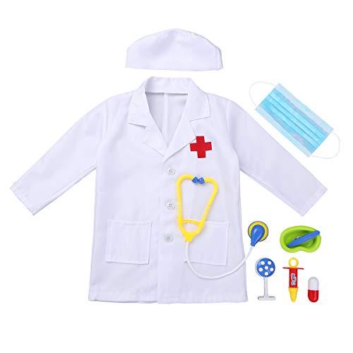 Alvivi Uniforme de Trabajo Bata Blanca Abrigo de Laboratorio Farmacia Chaqueta Disfraz Traje de Doctor Enfermera Sanitario Cosplay Conjunto Estetoscopio de Juguete Blanco 4-5 Años
