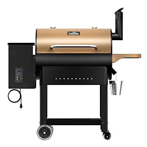 Hykolity Pellet Grill & Smoker 570 Sq in, 8 in 1 Wood Pellet BBQ Grill Smoker Auto Temperature Control with Cooking Probe, 23LB Hopper Capacity, Brown
