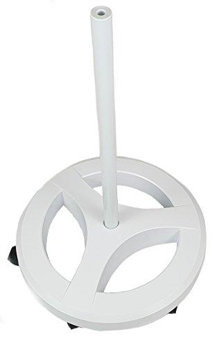 Komerci KML-FS3 Rollstativ Standfuß für Lupenleuchte Lupen- und Arbeitslampe, rund, 6-Rollen Stativ, extra schwer, weiß