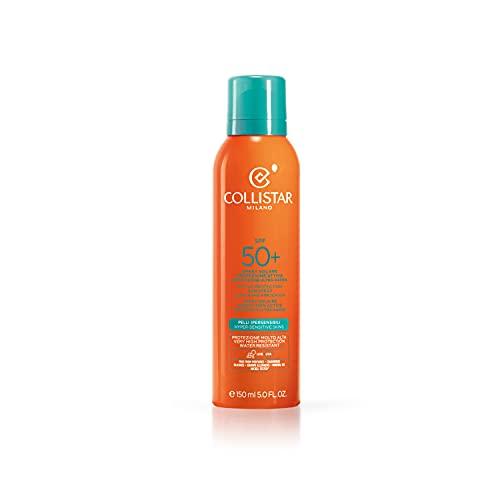 Collistar Spray Solare Protezione Attiva SFP 50+   Spray Corpo, Viso e Capelli   Massima protezione da scottature ed eritemi   Resistente all'acqua   Adatto per pelli ipersensibili e bambini   150 ml
