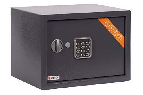 Brihard Family Tresor Safe mit Elektronischem Schloss, 25x35x25cm (HxWxD), Titan Grau