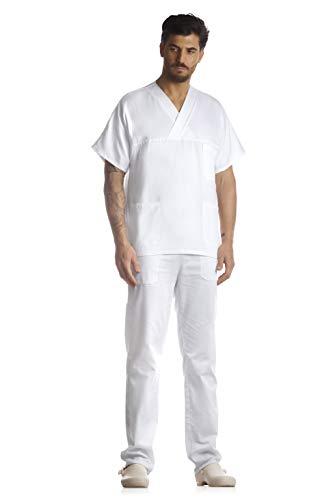 DIVISA OSPEDALIERA UNISEX, OSS, ESTETICA, INFERMIERE, casacca e pantalone, PERSONALE ALBERCHIERO, PERSONALE MEDICO, OPERATORE SANITARIO, OPERATORE SCOLASTICO, TAGLIE FORTI (BIANCO, 3XL)