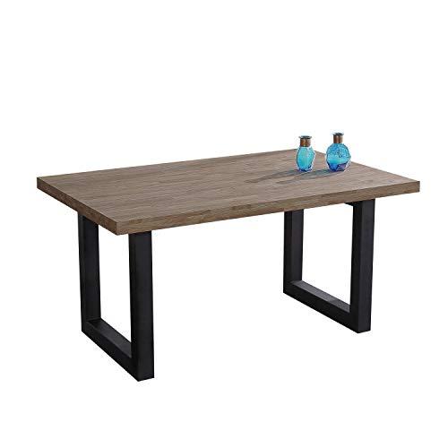 Adec - Loft, Mesa de Comedor, Mesa Salon o Cocina Fija, Acabado en Roble Boreal y Negro, Medidas: 160 cm (Largo) x 100 cm (Ancho) x 75 cm (Alto)