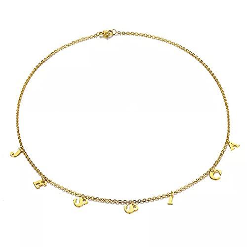 Collar Colgante Collar Personalizado Retro Oro Inicial Letra Gargantilla Collares para Mujer niña joyería de Acero Inoxidable Ajustable Collar Amistad Aniversario San Valentín Cumpleaños Regalo