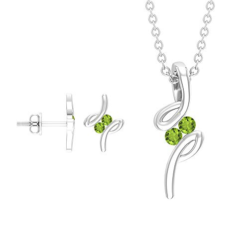Rosec Jewels 18 quilates oro blanco redonda Green Peridoto/Olivino