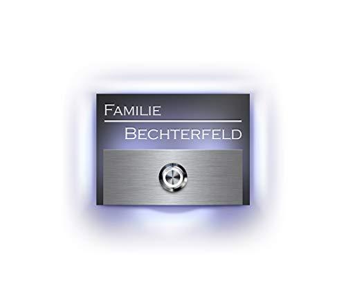 Klingel beleuchtet Türklingel mit Gravur Motiven und LED Klingelknopf Bechterfeld-L Klingelplatte