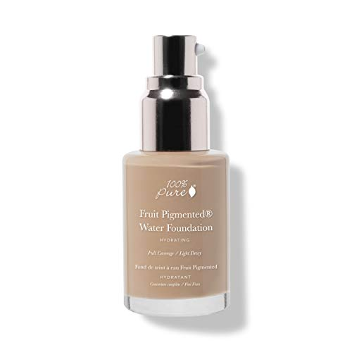 100% PURE Water Foundation (Fruit Pigmented), Olive 3.0, Full Coverage, Semi-Dewy Finish, For Normal, Dry Skin (Neutral w/Olive Undertones for Medium Skin) - 1 Fl Oz